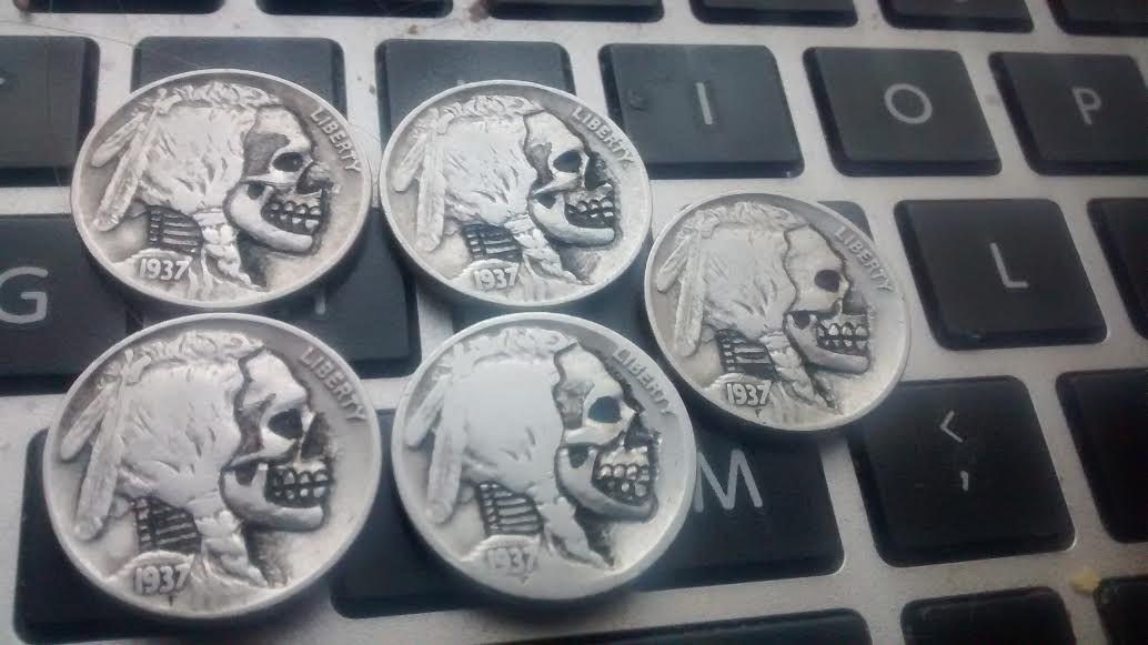 Buffalo Nickel Skull BreakingNickels copper-nickel 2016 - BreakingNickels says: I carved more Buffalo Nickel Skull Coins  /r/coins