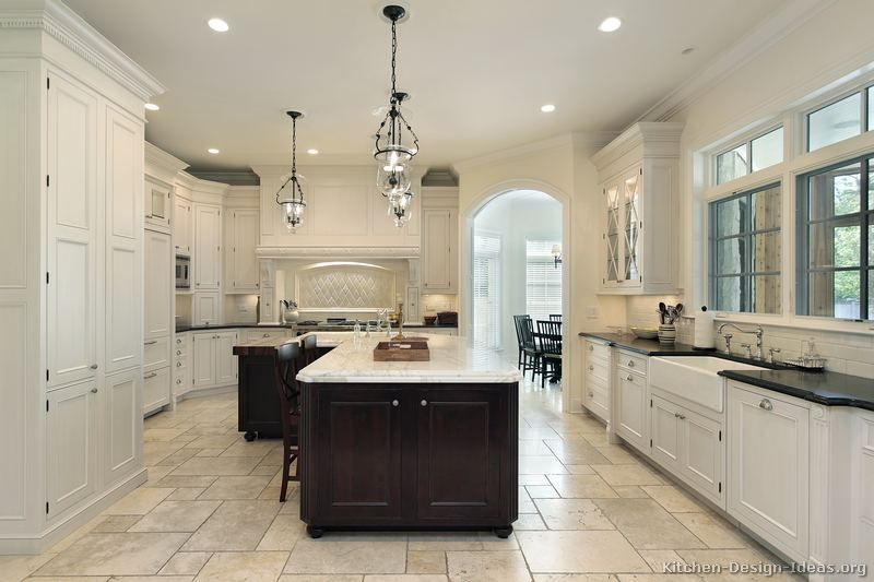 Traditional Two-Tone Kitchen Cabinets. Dark contrasting island ...