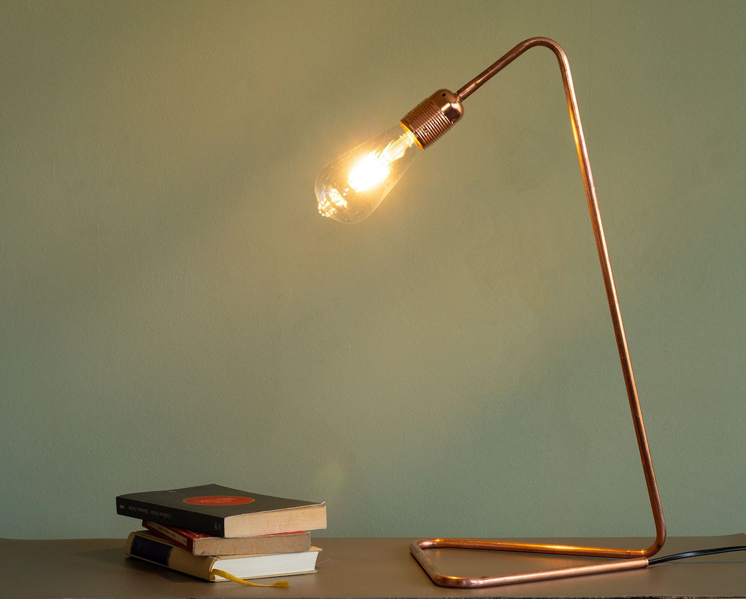 Desk Lamp Copper Tube Bent In Industrial Design Without Umbrella Lamp Desk Lamp Retro Light Bulbs