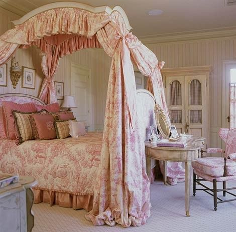 Toile, canopy, quilted spread, and pleated bed skirt. Is it too much? Well, there are too many pillows! the french upholstered bed - @Sharon Santoni