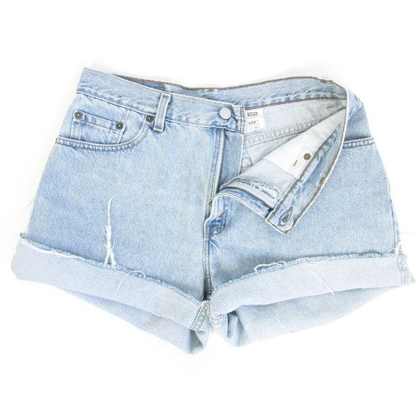 Faded Light Blue Denim Cutoff Shorts ($27) ❤ liked on Polyvore featuring shorts, high-waisted denim shorts, denim short shorts, vintage high waisted shorts, cut off shorts and high-waisted cut-off shorts