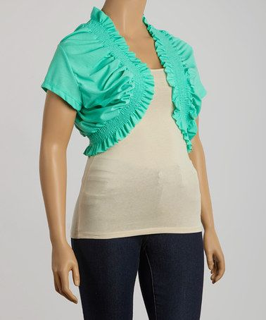 Loving this Green Shirred Cape-Sleeve Shrug - Plus on #zulily! #zulilyfinds