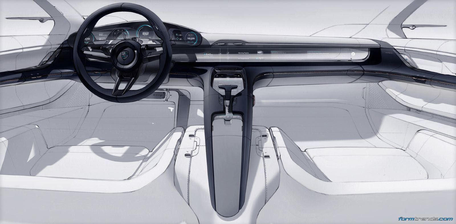 porsche mission e interior sketch by felix godard car interior pinterest interior sketch. Black Bedroom Furniture Sets. Home Design Ideas