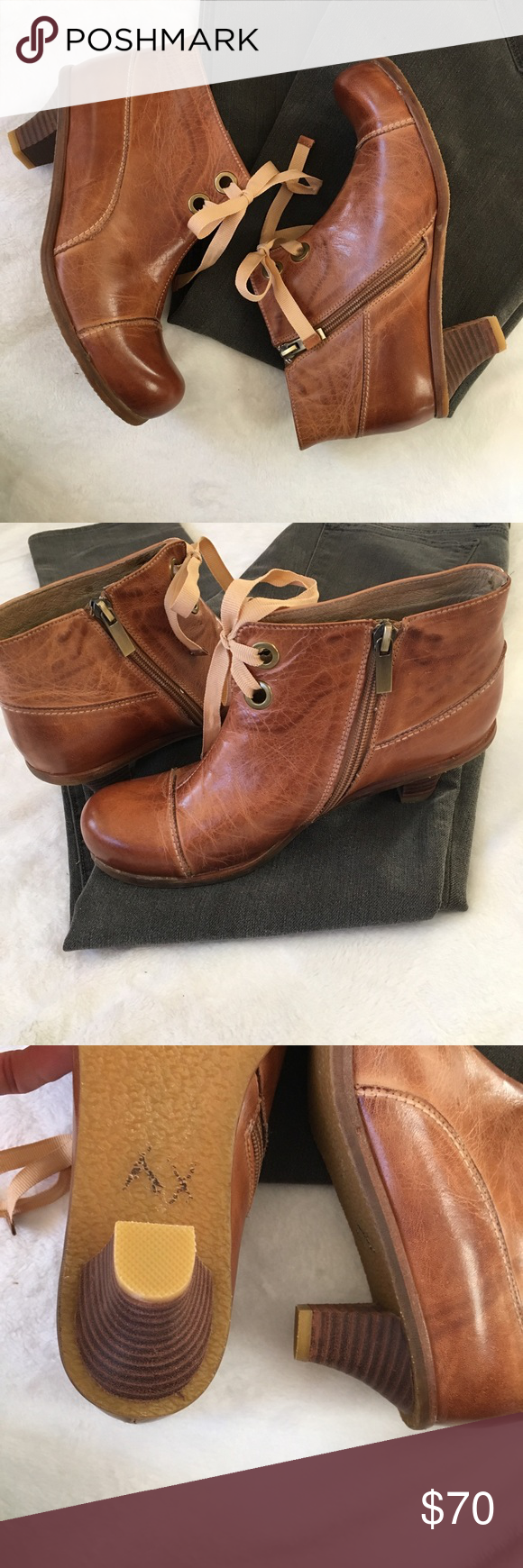 d3f650b34c4e 🆕Antelope lace up leather booties in cognac Gorgeous pair of vintage  inspired heeled brown leather