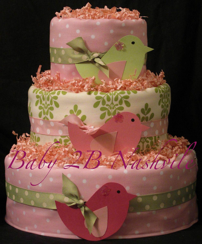 girls diaper cake in little birds pink and green baby shower centerpiece gift