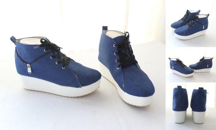 Sepatu Trendy Good Quality Warna Biru Bahan Kulit Suede Heels