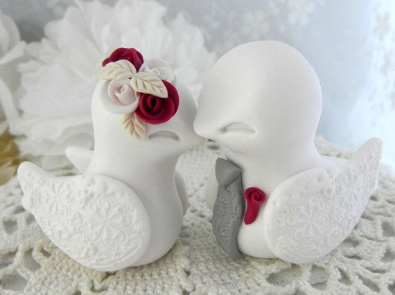 Love Birds Wedding Cake Topper WhiteDark Red Grey And By LavaGifts
