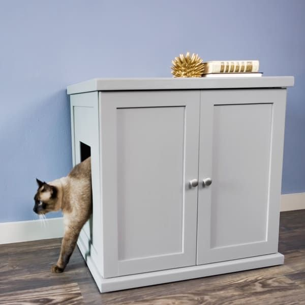 Decorative Litter Box The Refined Feline's Kitty Enclosed Wooden End Table & Litter Box