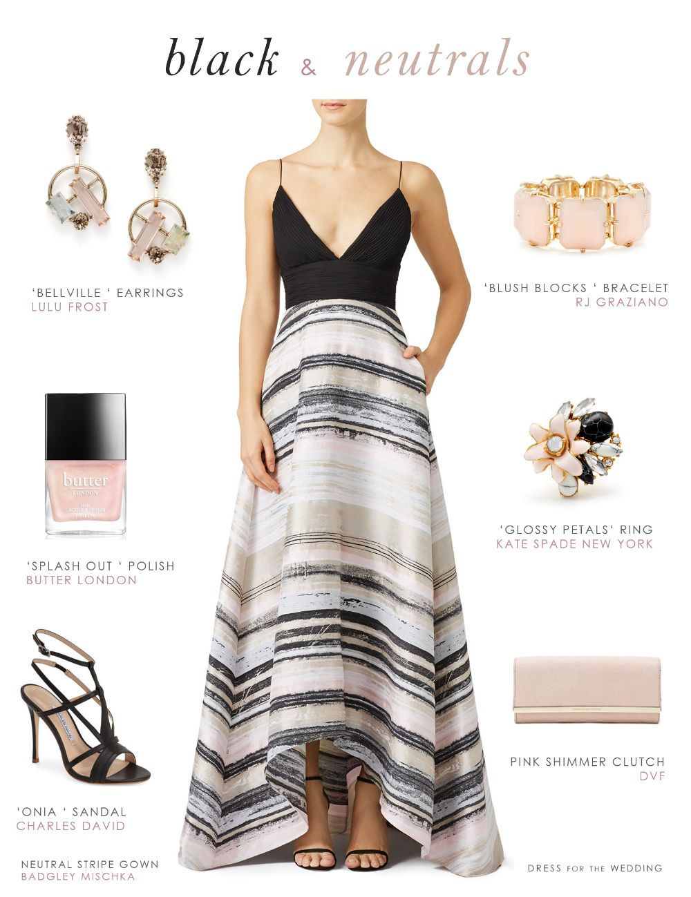 Black And Neutral Striped Gown Wedding Dress