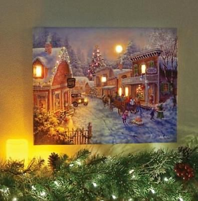 Sale Led Lighted Old Time Village Winter Scene Canvas Christmas Wall Art Picture Christmas Wall Art Wall Art Pictures Christmas Canvas