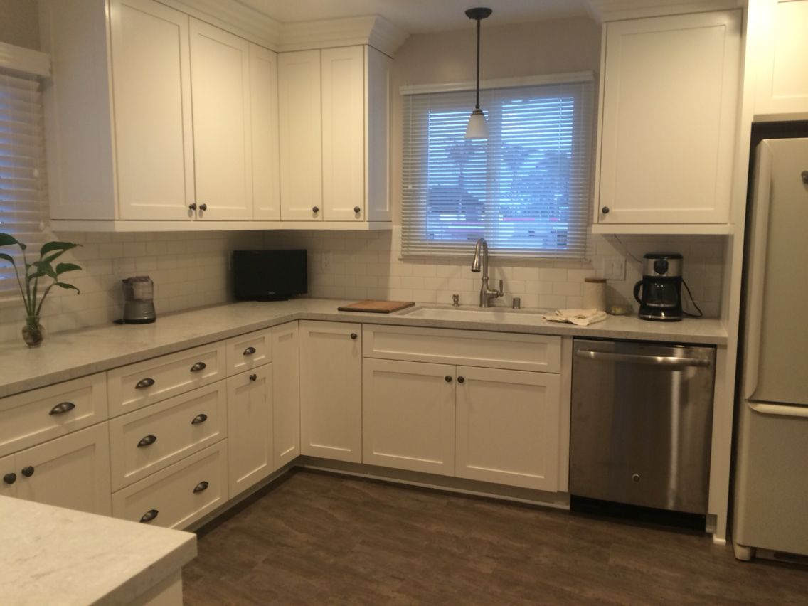 After Cabinets White Dove Benjamin Moore Countertops Bianco