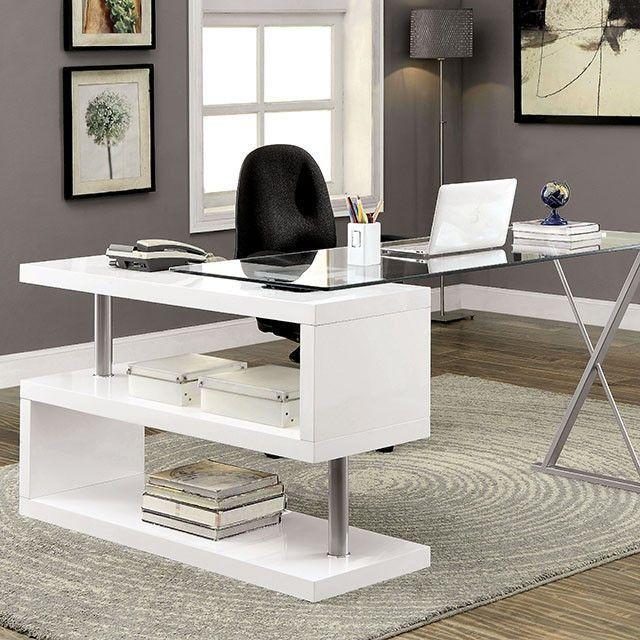 Attirant Brownen White Desk   CM DK6131WT · Glass Top DeskGlass Office ...