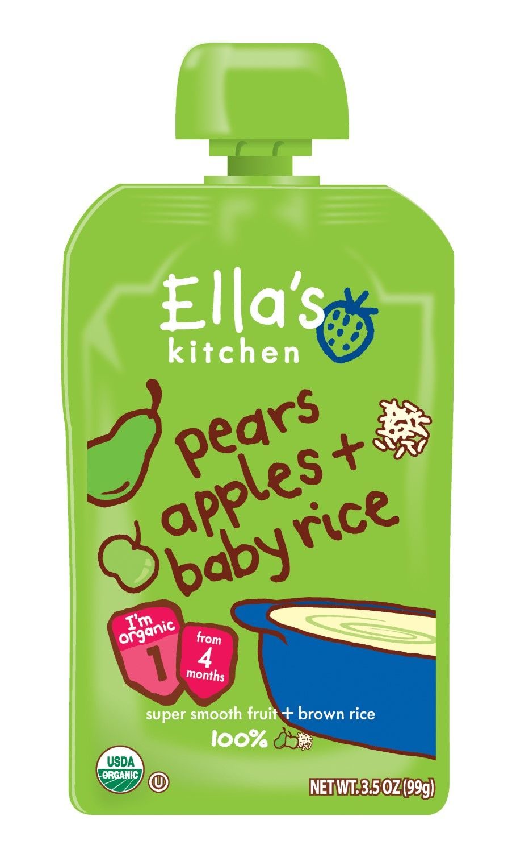 Ellas kitchen organic baby food stage 1 pears apples rice