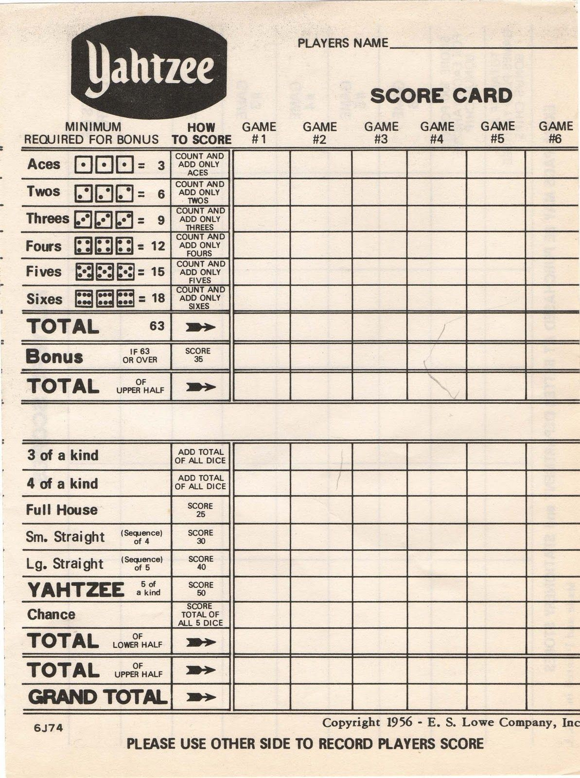 Delicate image intended for yahtzee printable score cards