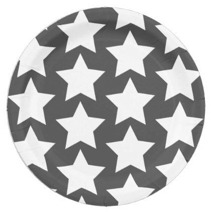White stars pattern | Charcoal Grey Paper Plates  sc 1 st  Pinterest & White stars pattern | Charcoal Grey Paper Plates | Star patterns