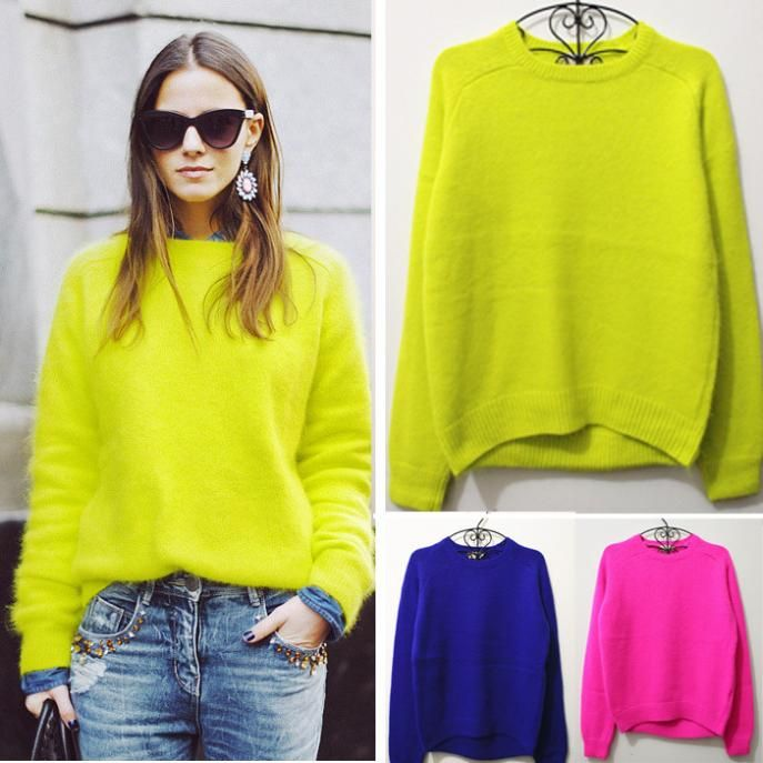 Super Fashion Acne Rabbit Fur Pullover Sweater Neon Color Jumper ...