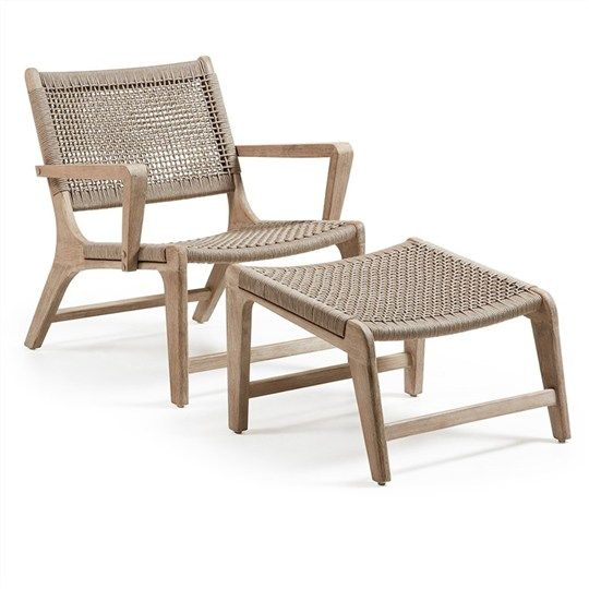 Hitchin Solid Acacia Timber Frame Indoor/Outdoor Armchair With Footrest