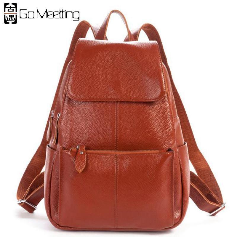349622aa49 Go Meetting High Quality Genuine Leather Women Backpack Natural Soft  Cowhide Women Shoulder School Bag Zipper Travel Backpacks.