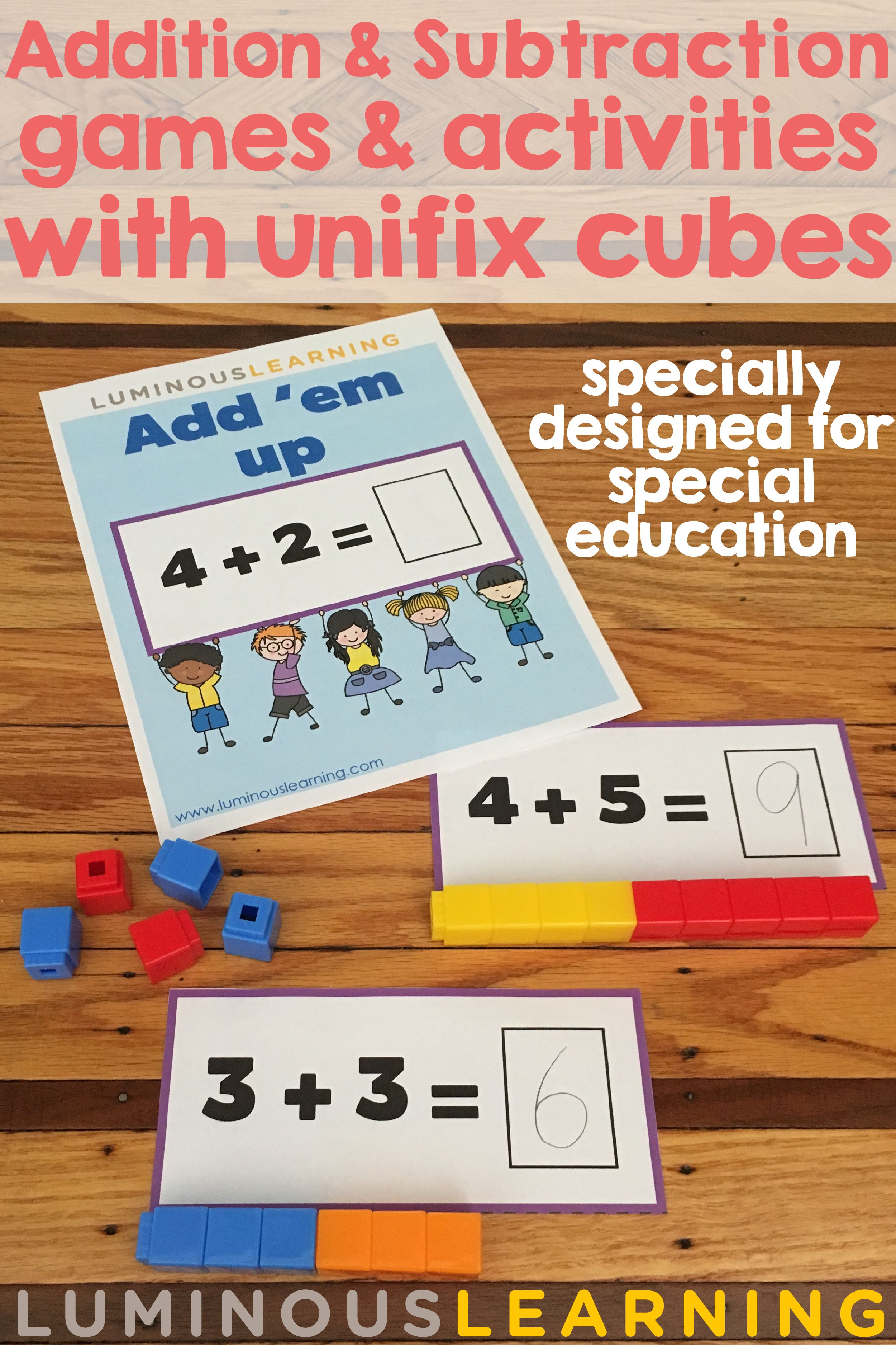 Addition And Subtraction Games With Unifix Cubes Designed With Supports For Special Education