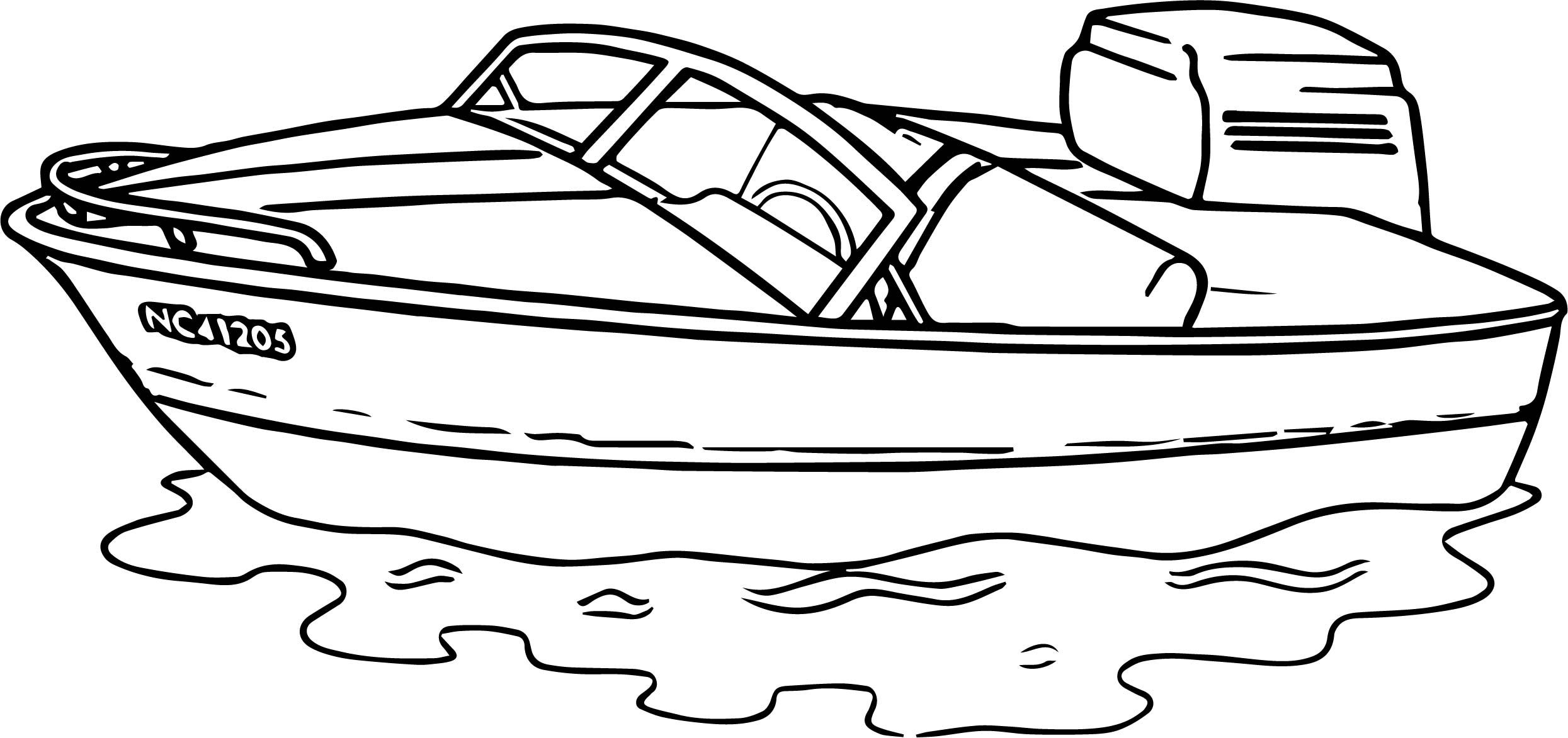 Awesome Any Motorboat Aquatic Coloring Page Printable Coloring