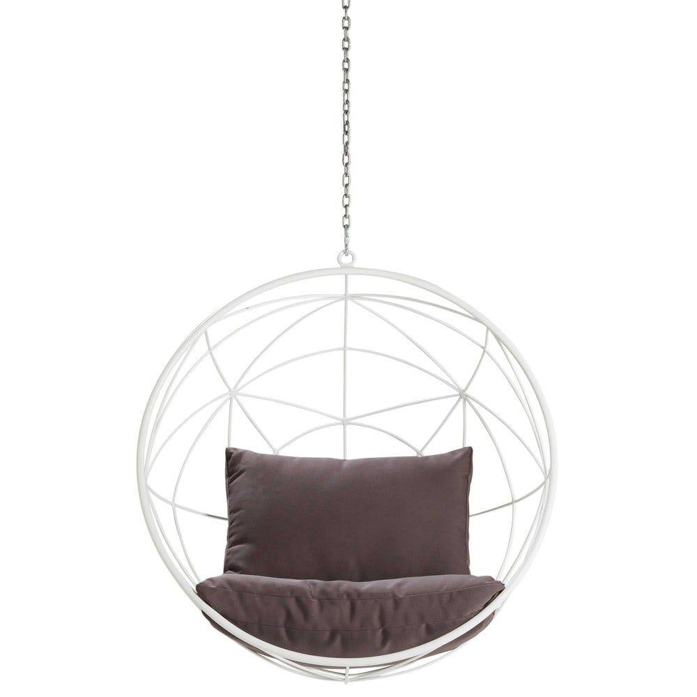 Poltrona Sospesa Bubble Chair.Poltrona Sospesa Da Giardino In Metallo Bianco E Cuscini