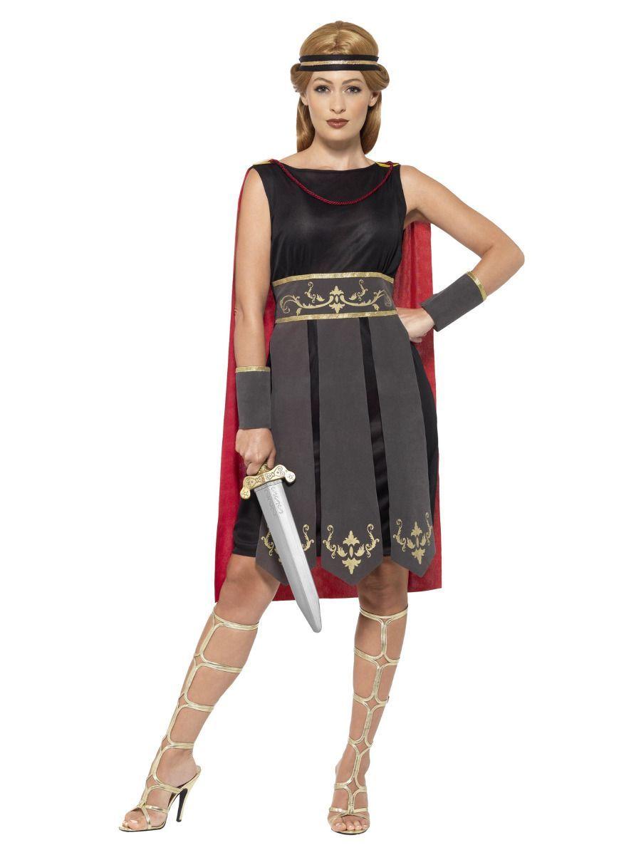 Womens Roman Warrior Costume Roman Gladiator Adults Fancy Dress