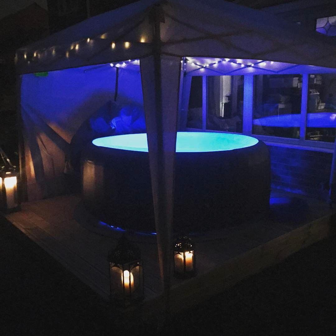 Like The Lanterns Outside Decor Ideas Garage In 2019 Hot Inflatable Hot Tubs Hot Tub Backyard Hot Tub Gazebo