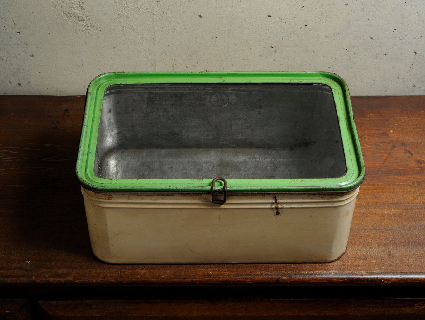 box top tin Vintage glass
