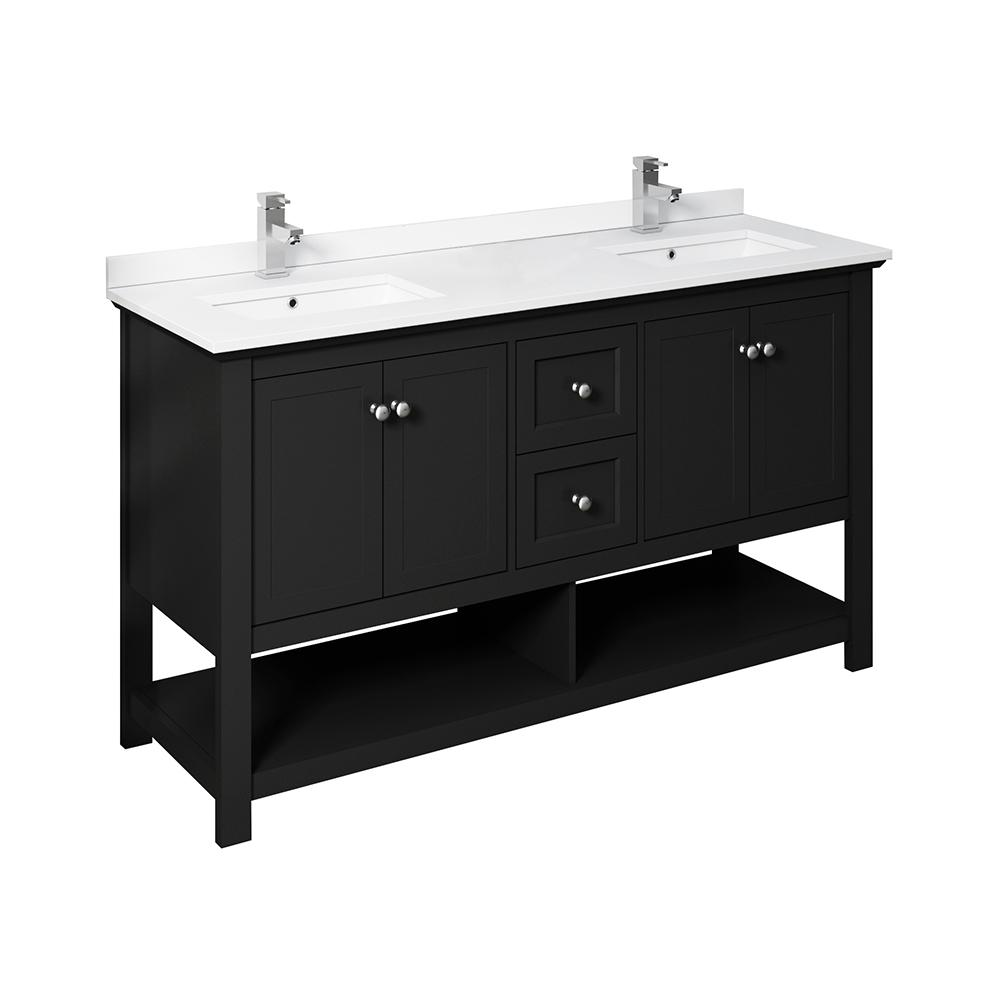 Fresca Manchester 60 In W Bathroom Double Bowl Vanity In Black