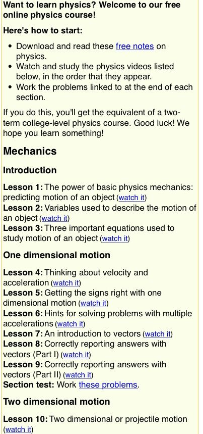 Free Online Course Http Www Fearofphysics Com Videos With