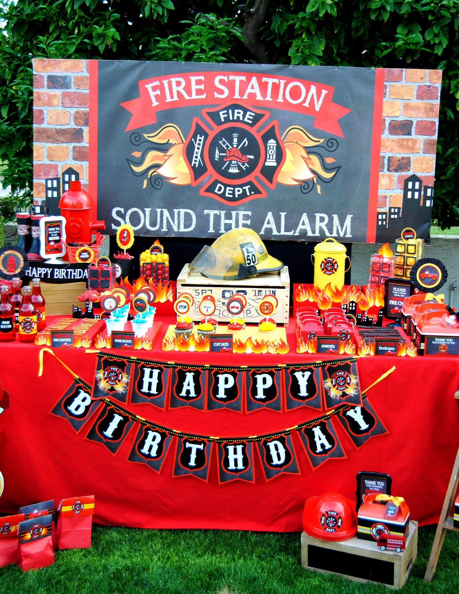 FIREMAN Birthday Fire Man Party Fire Department COMPLETE – Firefighter Party Invitations