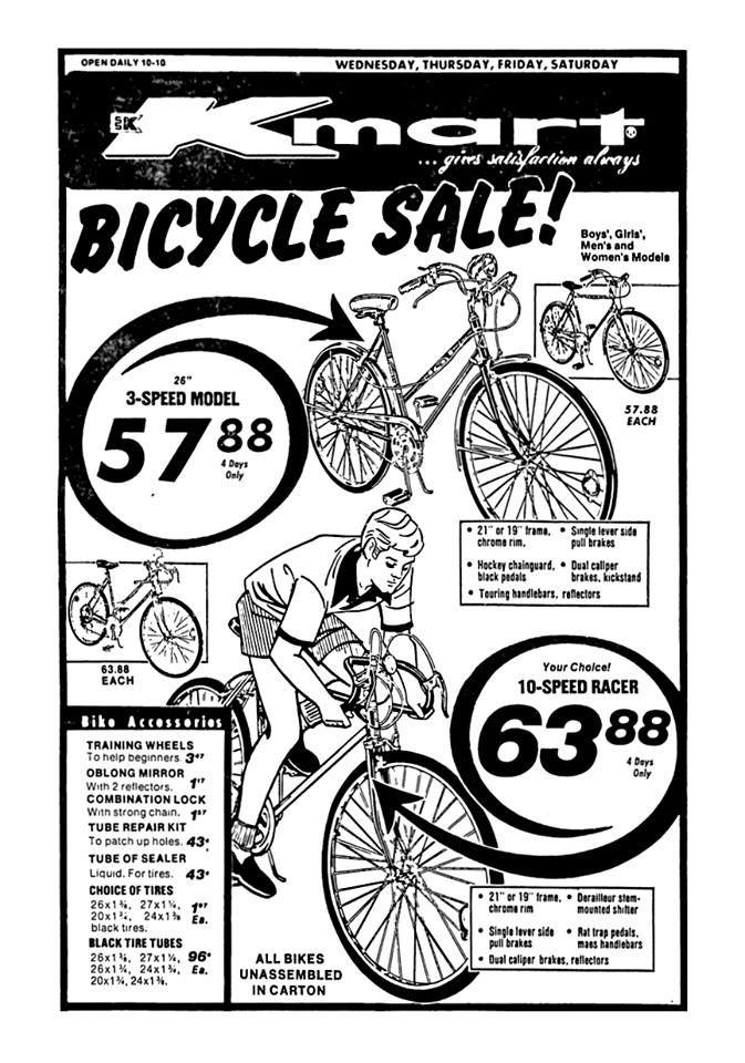 kmart bicycle sale april 1975 1970 s 1980 s newspaper vintage Old Bike Ads kmart bicycle sale april 1975 retro advertising vintage advertisements vintage ads bicycles