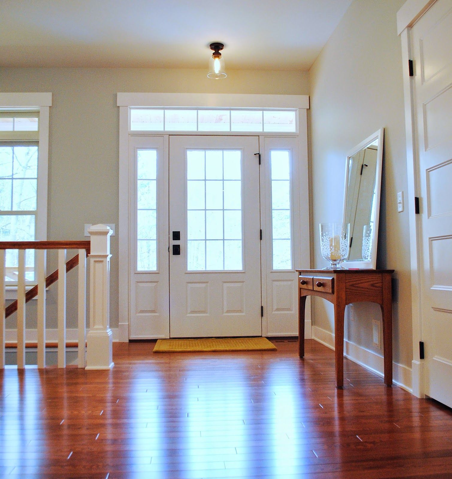 Interior 3 4 light colonial front door with transom and for Colonial entry door