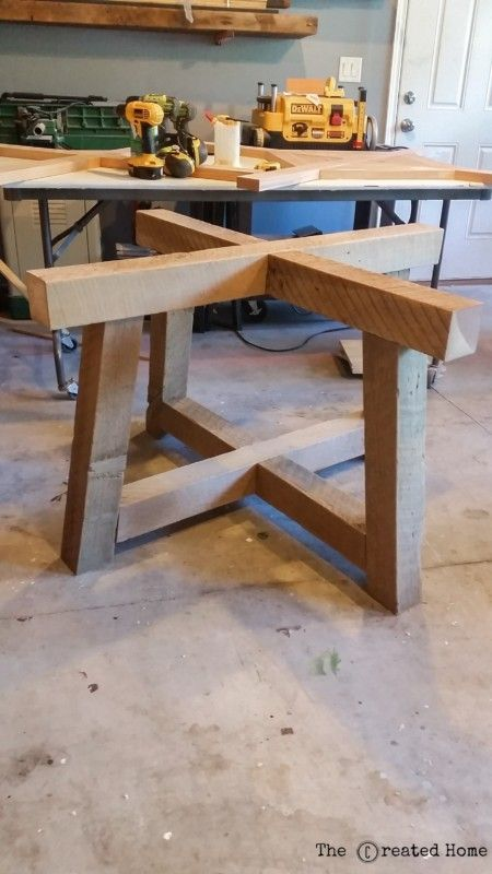 Salvaged Wood Beam Round Dining Table The Created Home Round Wood Table Wood Table Bases Diy Dining Table