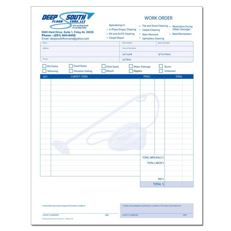 Cleaning And Janitorial Invoice Forms Within Receipt For Work Done Invoice Template Cleaning Business Carpet Installation