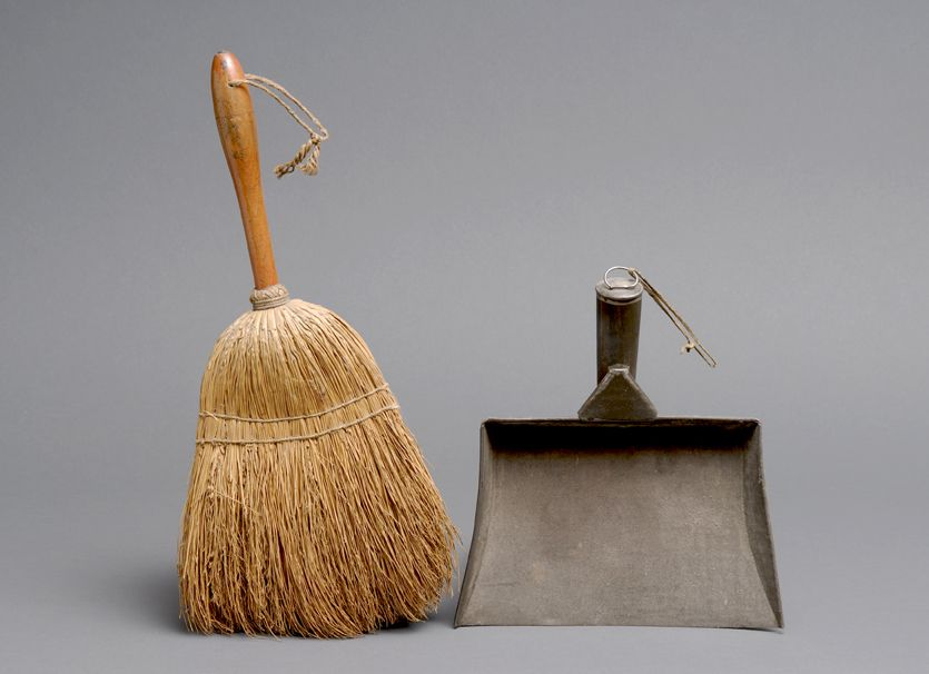 Shaker made whisk broom and tin dust pan, Sabbathday Lake