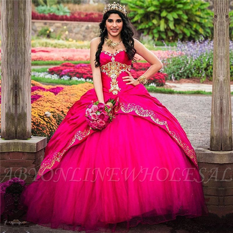 Hot girls in quiceneiera Puffy Sweetheart Sleeveless Gold Appliques Quinceanera Dress Hot Pink Sweet 16 Dresses Online Ball Dresses Quinceanera Dresses Pink Ball Gowns
