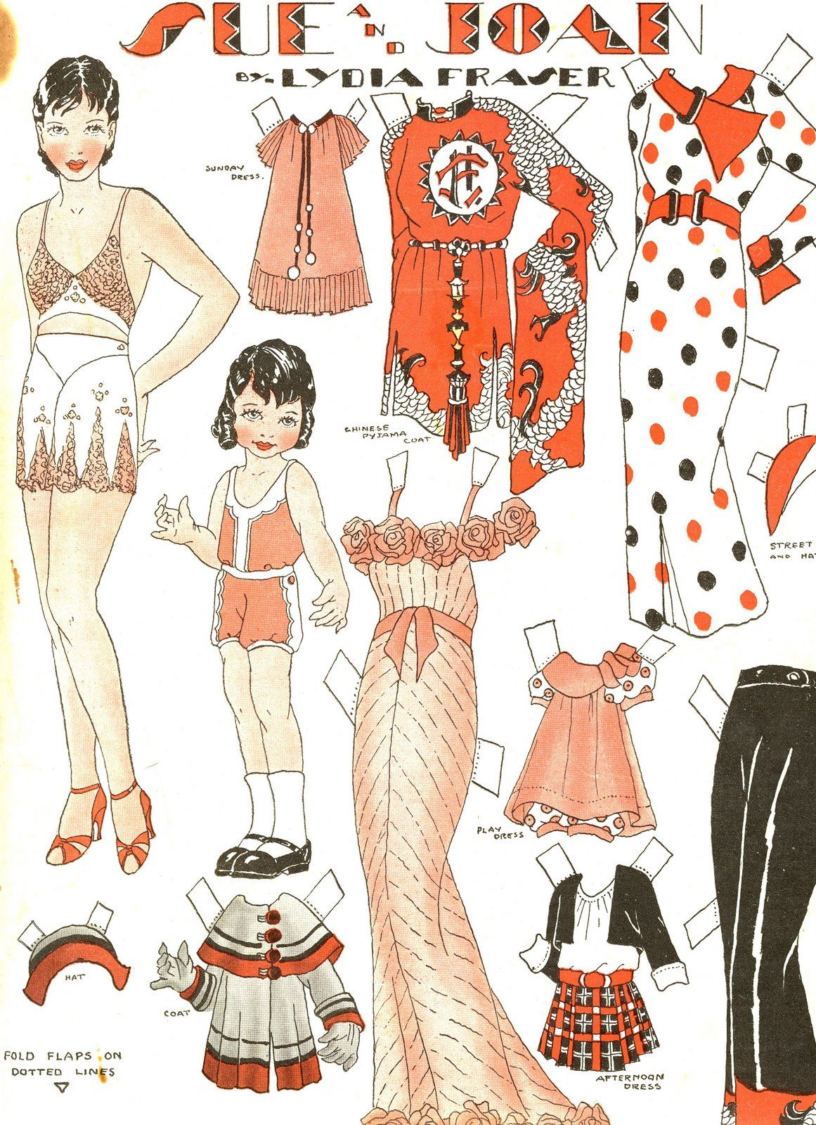 Sue and Joan Paper Dolls by Lydia Fraser, published in the