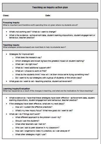Teaching As Inquiry Action Plan  Teaching As Inquiry  Practical