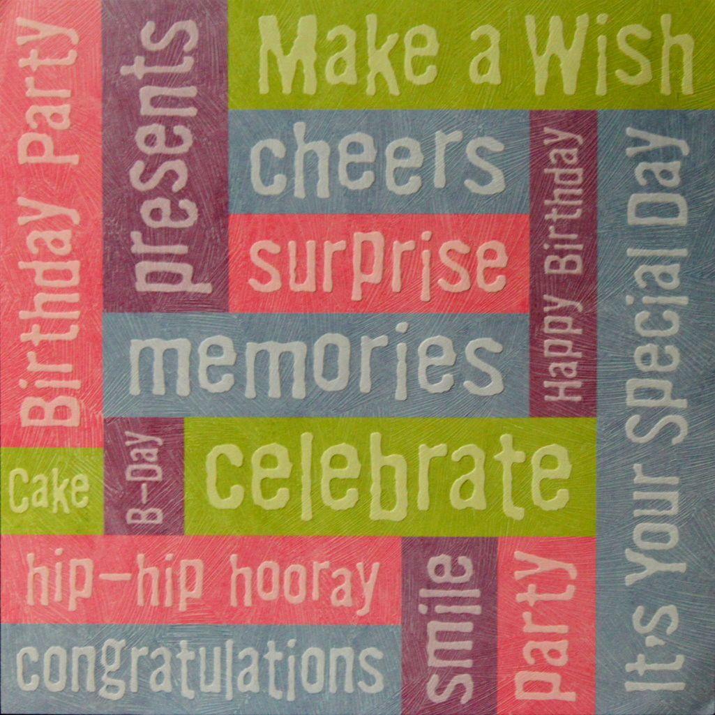 How to scrapbook words - K Company Tim Coffey 12 X 12 Birthday Words Embossed Printed Scrapbook Paper