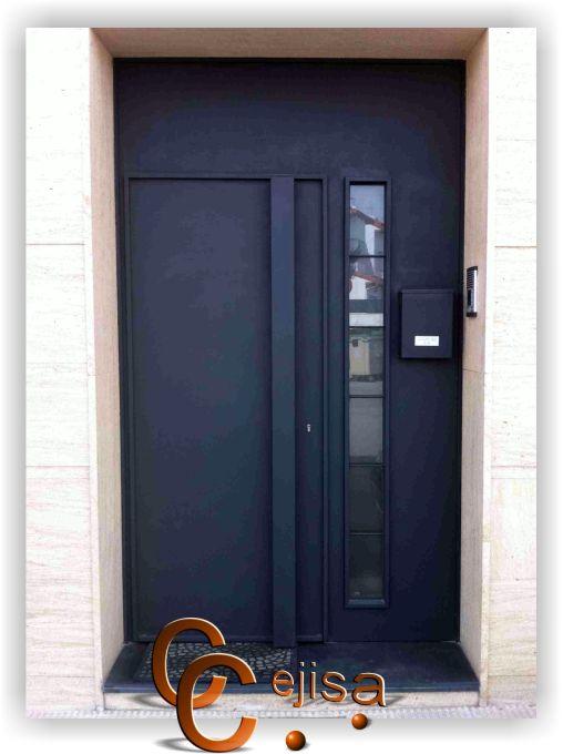 Puerta de entrada a vivienda moderna de una hoja de chapa - Puertas de chapa galvanizada ...