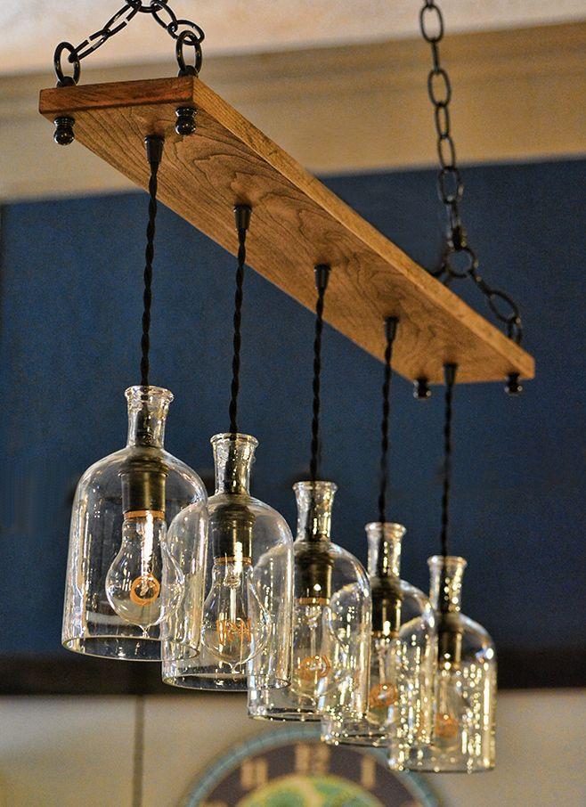 Vintage Clear Bottle 8 Lampara Colgante De Madera Botellas De Vidrio Recicladas Lamparas De Techo Madera