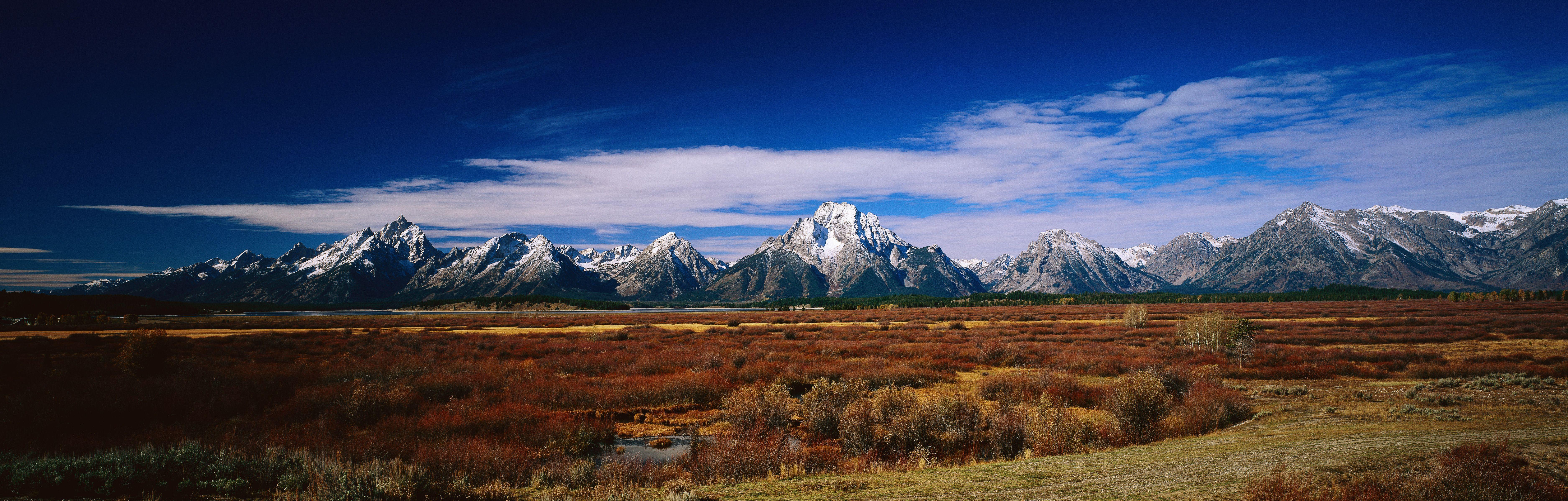 Jackson Hole Wyoming Dual Screen Wallpaper Dual Monitor Wallpaper Mountains
