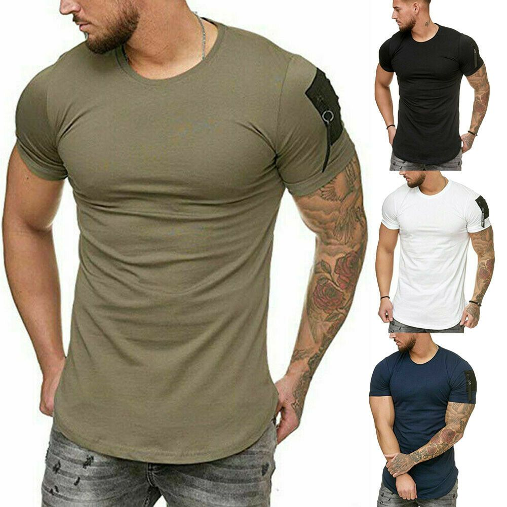 Summer Mens T Shirt Slim Fit Casual T-shirt Tops Clothes Bodybuilding Muscle Tee