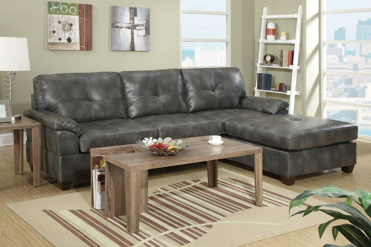Poundex Furniture F7408 2 Pc Sectional - Main Image | Grey ...