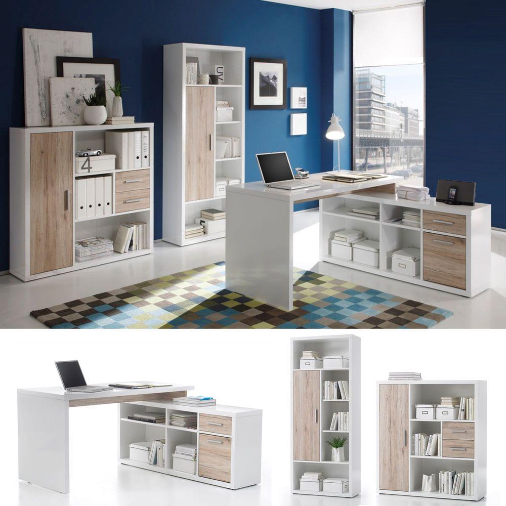 Details zu Büro-Set Tokyo 3-teilig Regal Highboard Schreibtisch ...