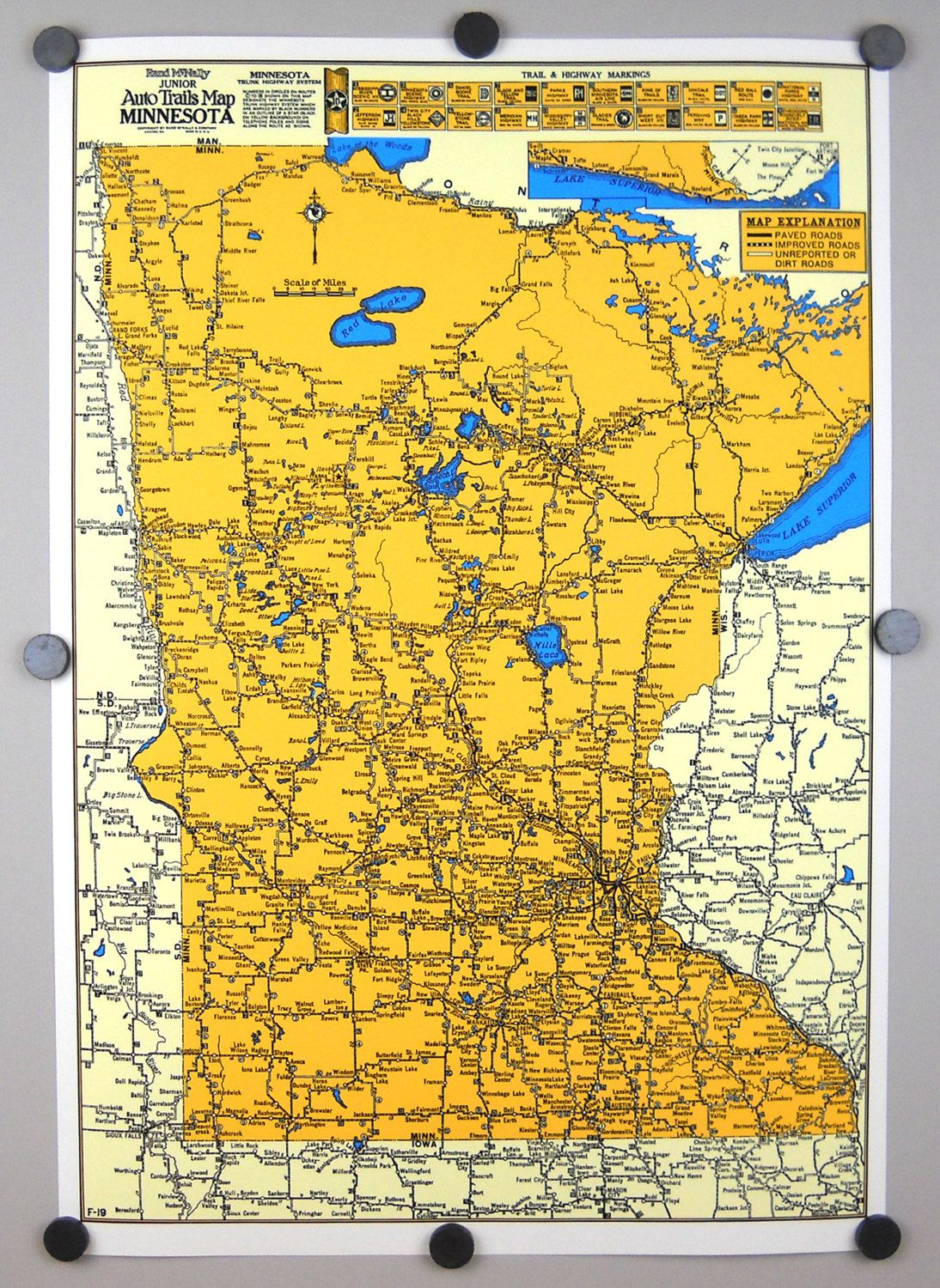 Minnesota Trails Map Archival Print Giclee Vintage Minneapolis St