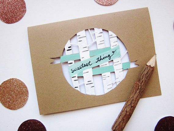 Becoming my new favorite design: Sweetest Thing Card - birch forest with mint green banner - a painted paper cut