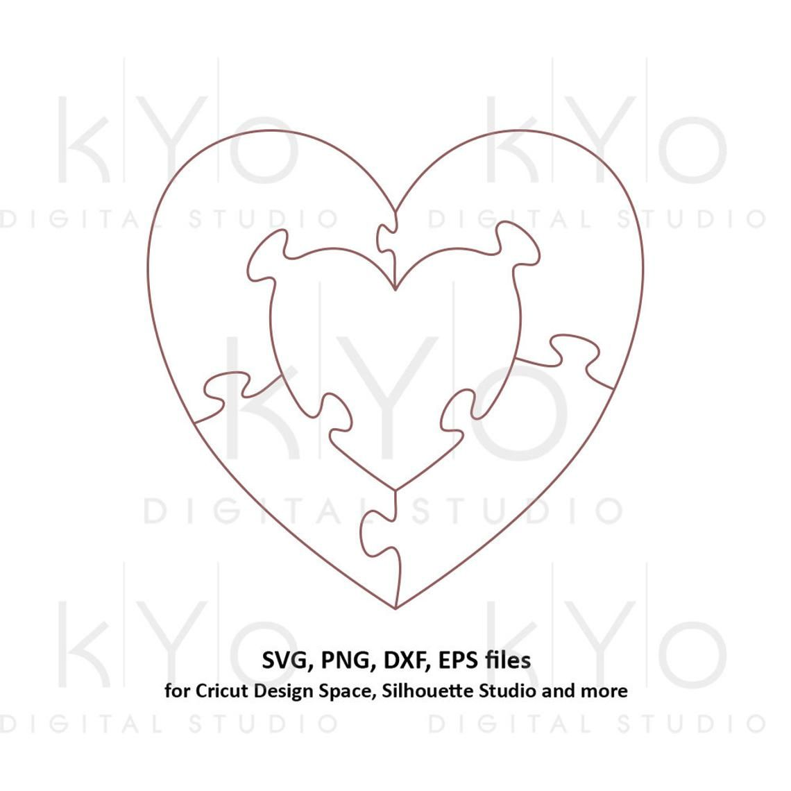 Heart In Heart Jigsaw Puzzle Templates Ai Eps Dxf Svg