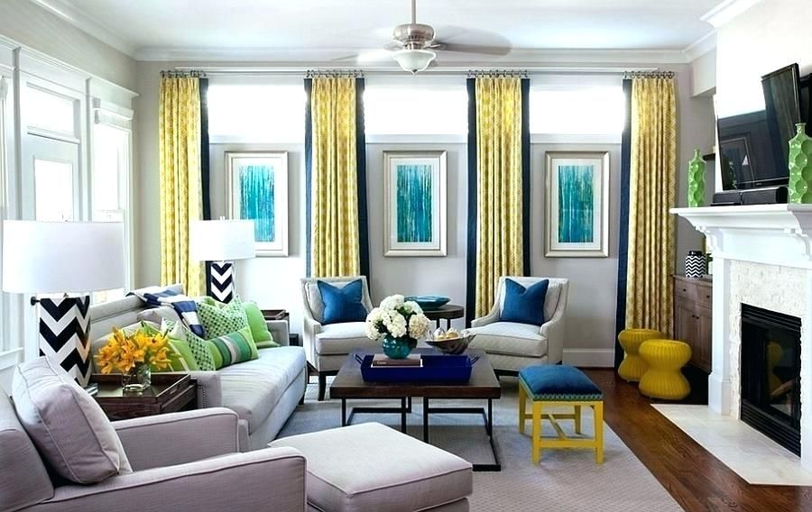 Navy Blue Yellow And Grey Bedroom Yellow And Gray Living Rooms Add A Dash Of Green Blue And Yellow Living Room Yellow Living Room Window Treatments Living Room